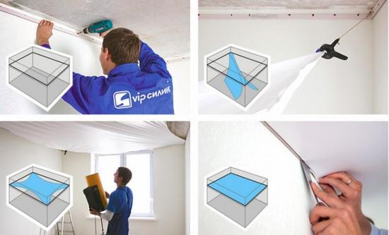 Натяжка сатинового потолока